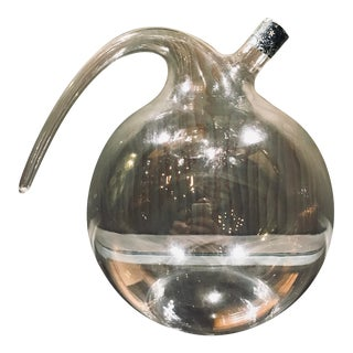 Large Hand Blown Italian Clear Glass Grappa Bottle With Handle For Sale
