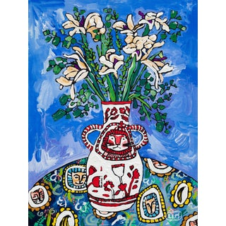 Lion Vase With Iris Bouquet Floral Still Life Painting For Sale