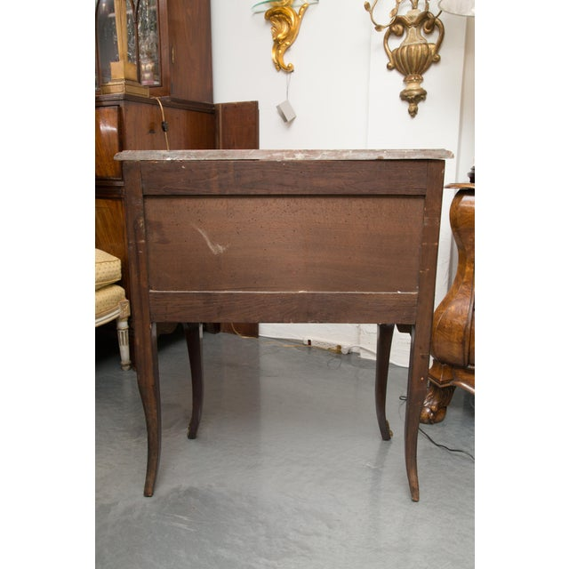 French Louis XV Style Two-Drawer Commode With Marble Top, 20th Century For Sale - Image 3 of 10