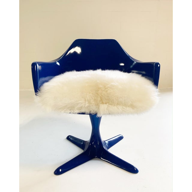 Animal Skin Burke Tulip Armchairs With Brazilian Sheepskin Cushions - Set of 4 For Sale - Image 7 of 8