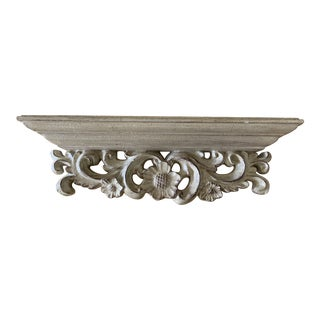 1990s Rustic Floral Decor Wall Shelf For Sale