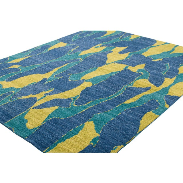 2010s Carini Blue and Chartreuse Camouflage Print Area Rug - 8′ × 10′ For Sale - Image 5 of 7