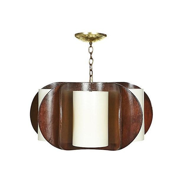 1960s Curved Walnut Wood Chandelier For Sale - Image 5 of 5