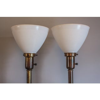 1950s Torchiere Table Lamps With Painted Ivy and Gold Leaf Glass Stiffel Style - a Pair Preview