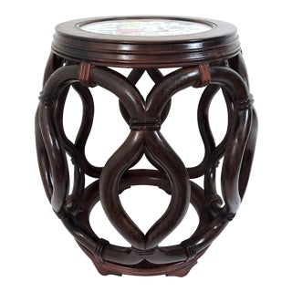 Vintage Chinese Rosewood Garden Stool / Side Table With Flower & Butterfly Porcelain Top For Sale