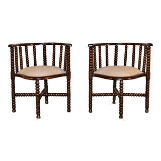 Pair of 19th C French Bobbin Chairs For Sale
