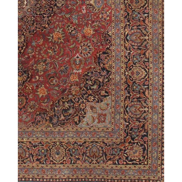 Original Fine INDO Kashan Design Rug Handmade Hand-knotted Lamb's Wool on a Cotton Foundation Very practical for high...