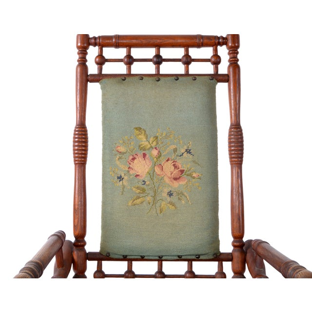 Antique Rocking Chair Hand Carved & Turned Walnut Wood Needlepoint Upholstery For Sale In Miami - Image 6 of 13