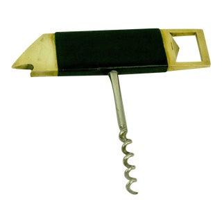 Austrian Modernist Brass Fish Cork Screw and Bottle Opener by Carl Auböck
