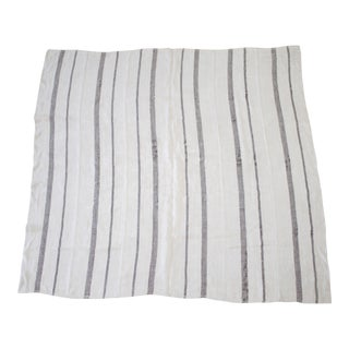 Vintage Flat-Weave Turkish Hemp Rug Off-White With Stripes For Sale