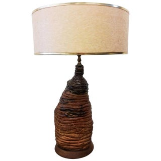 Mid-Century Brutalist Clay Table Lamp For Sale