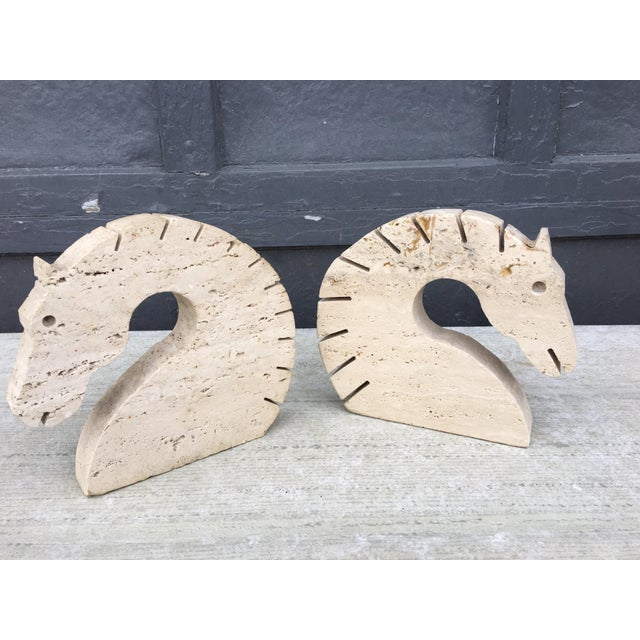 Travertine Marble Horse Head Bookends by Fili Mannelli for Raymor For Sale - Image 10 of 10