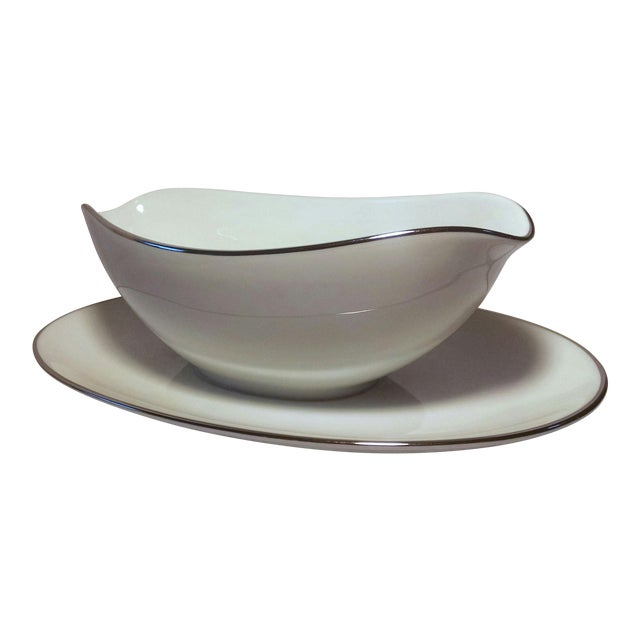 Noritake White Platinum Colony Gravy Boat With Attached Underplate - Image 1 of 6