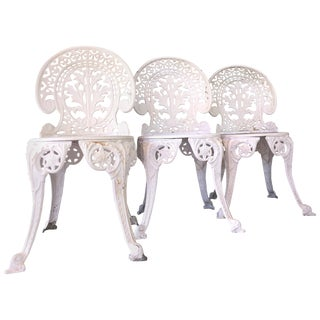 Trio of Faceted Metal Fancy French Belle Époque Revival Aluminum Cafe Chairs For Sale