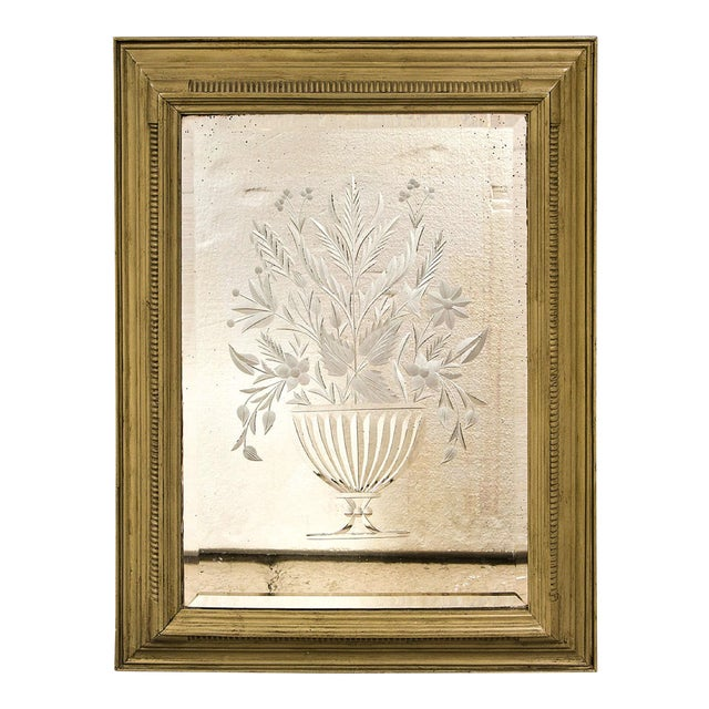 Decorative Framed Floral Etching Mirror For Sale