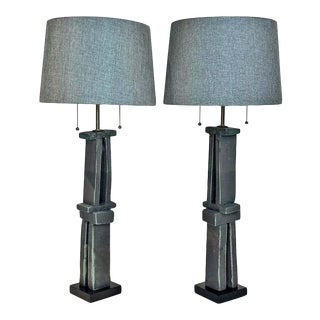 Amazing Pair of Tall 'Weathered Bronze' Ceramic Hand Built Sculpture Lamps by Judy Engel For Sale