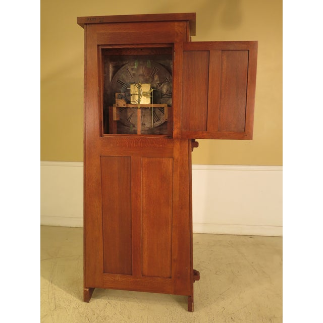 Brown Stickley Monumental Mission Oak Grandfather Clock For Sale - Image 8 of 11