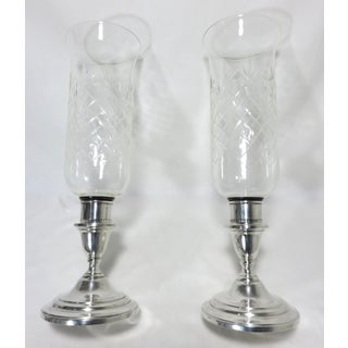 1950s Vintage Sterling Silver & Cut Crystal Candlestick Holders- A Pair Preview