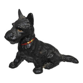 Vintage Hubley Cast Iron Scottish Terrier Dog Doorstop For Sale