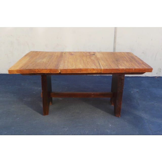 Gorgeous handmade wood slab table with mission style base. Each table is unique with the natural grains of the tree trunk...