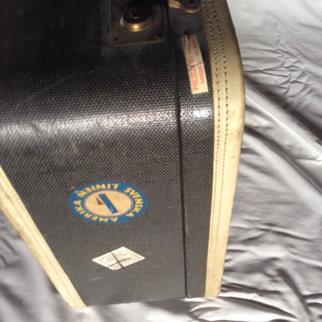 Large Vintage Dark Blue Suitcase For Sale In Los Angeles - Image 6 of 9