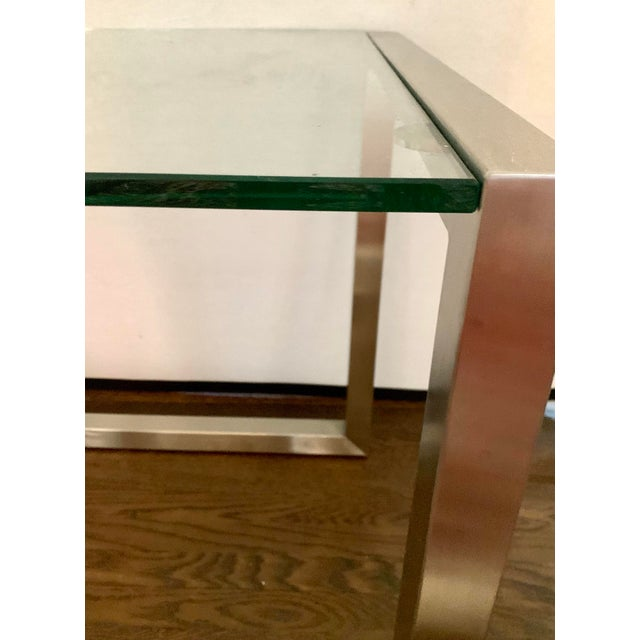 Ethan Allen Ethan Allen Mid-Century Style Chrome and Glass End Table, Pair For Sale - Image 4 of 6