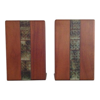Martz for Marshall Studios Wood & Ceramic Tile Bookends - a Pair
