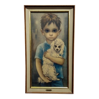 Margaret Keane -Boy Holding His Dog-Beautiful Fine Art Print -Signed For Sale