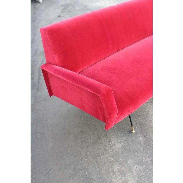1950s Italian Red Velvet Sofa For Sale - Image 5 of 7
