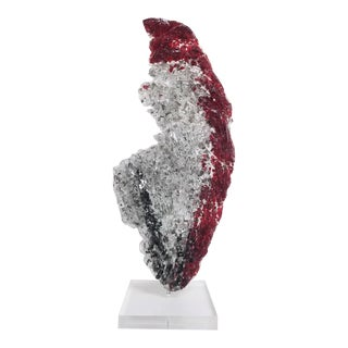 "Abstract Glass and Acrylic Sculpture""Red Glacier"" by John J. Denis For Sale"