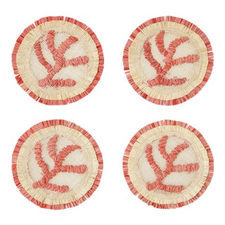 Coral Straw Coasters, Set of 4 For Sale