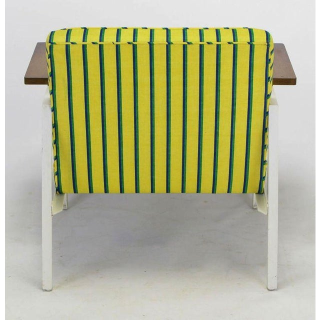 Mid-Century Modern George Nelson White Lacquer & Walnut Upholstered Arm Chair For Sale - Image 3 of 5