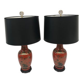 Red/Orange Chinoiserie Table Lamps - A Pair For Sale