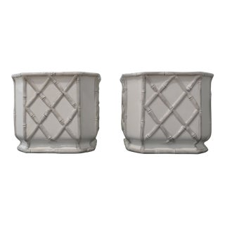 Square Bamboo Cachepots - A Pair For Sale