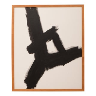 Franz Kline Inspired Abstract Black and White Painting For Sale