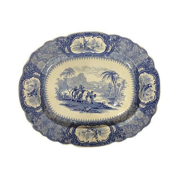 English Blue Transferware Platters - Set of 3 - Image 5 of 5