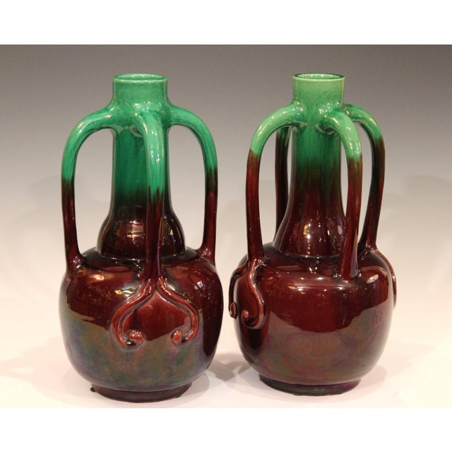 Pair of Art Nouveau Japanese Awaji Pottery Organic Gourd Form Tendril Vases For Sale - Image 9 of 10