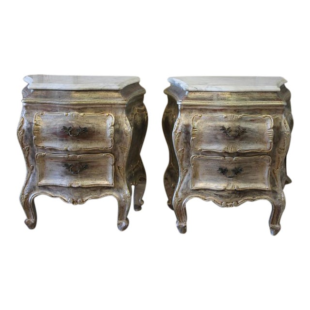 Silvered Marble Top Commode Side Tables - A Pair - Image 1 of 3