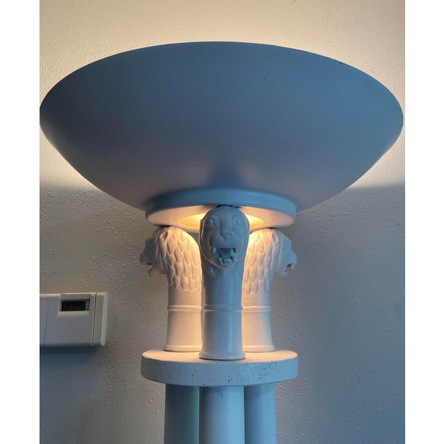Metal Neoclassical Triple Lion Head Torchiere Floor Lamps -A Pair For Sale - Image 7 of 9
