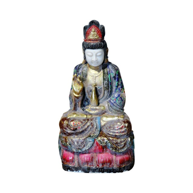 Gold Figural Oriental Marble Statue For Sale - Image 8 of 8