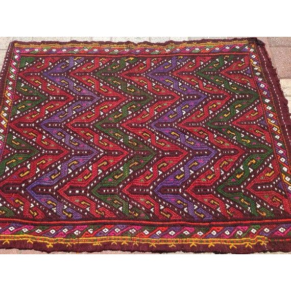 Vintage Turkish Kilim Rug - 3′3″ × 4′4″ - Image 5 of 6