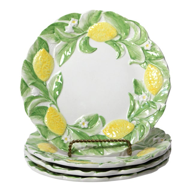 Italian Majolica Lemon Luncheon Plates - Set of 4 For Sale