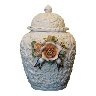 Vintage White Bisque Ginger Jar With Embossed Scroll Work and Floral Bouquet For Sale
