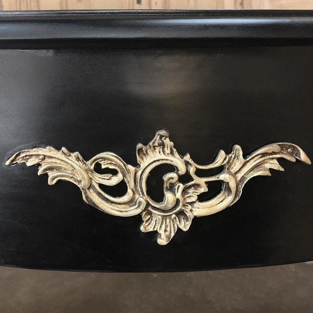 Antique French Louis XV Black Painted Desk ~ Bureau Plat With Bronze Mounts For Sale - Image 11 of 12