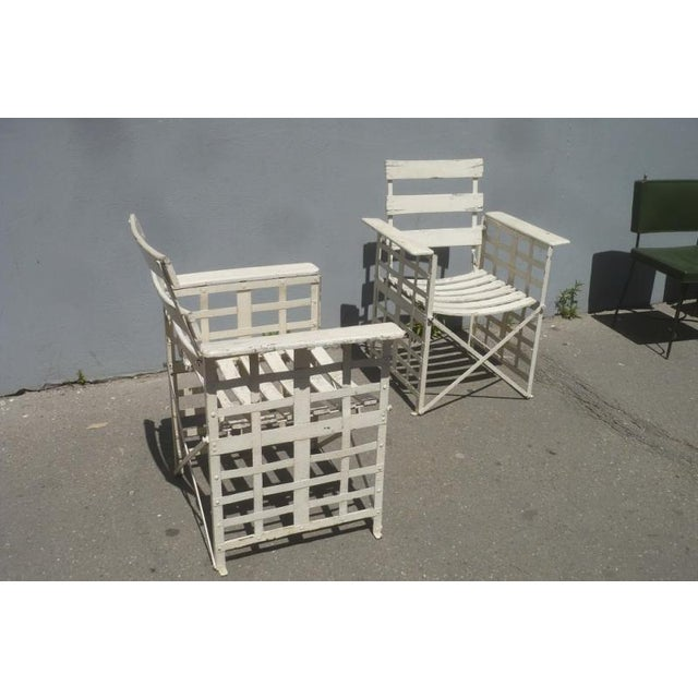 Metal Austrian Sécession Pair of Garden Arm Chairs in Genuine Vintage Condition For Sale - Image 7 of 8