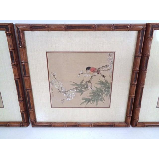 Vintage Regency Japanese Silk Bird & Floral Prints- Set of 3 For Sale - Image 4 of 10