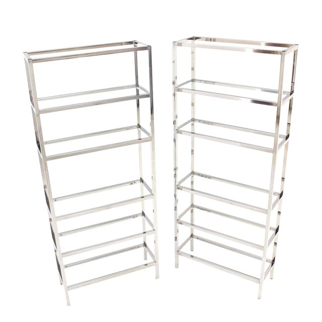 Pair of Tall Glass 6 Tier Shelves Chrome Etageres For Sale