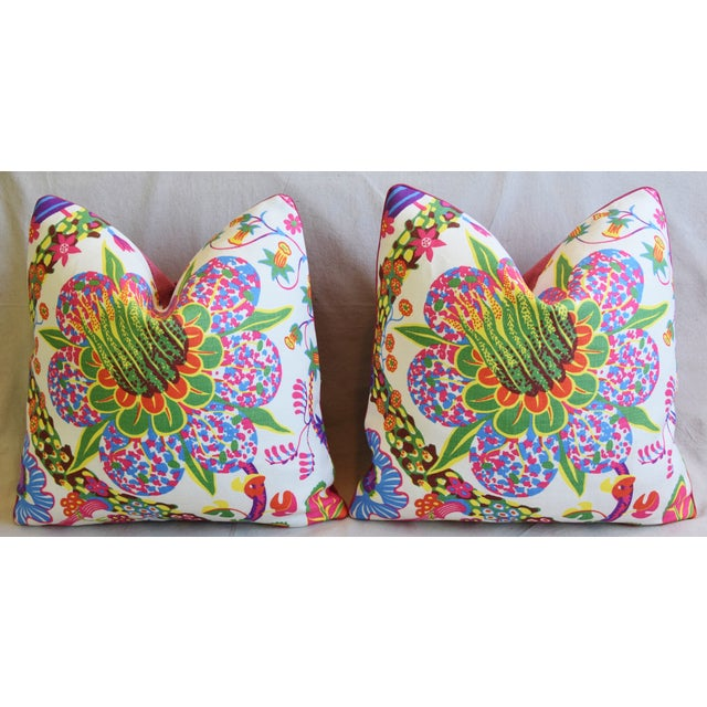 """Designer Josef Frank Floral Linen & Velvet Feather/Down Pillows 21"""" Square - Pair For Sale In Los Angeles - Image 6 of 13"""