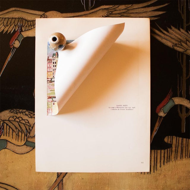 """Raoul Dufy 1948 Raoul Dufy, Original Period Parisian Lithograph """"Le Port D'Honfleur"""" For Sale - Image 4 of 8"""
