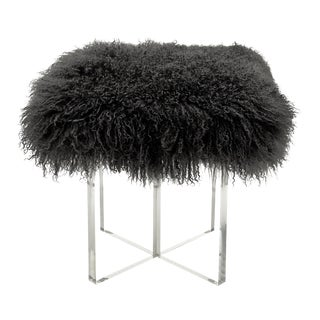 Charcoal Curly Kiss Ottoman For Sale